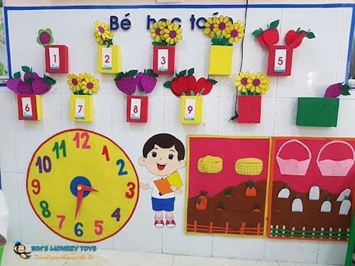 Trang trí góc toán lấy trẻ làm trung tâm 5